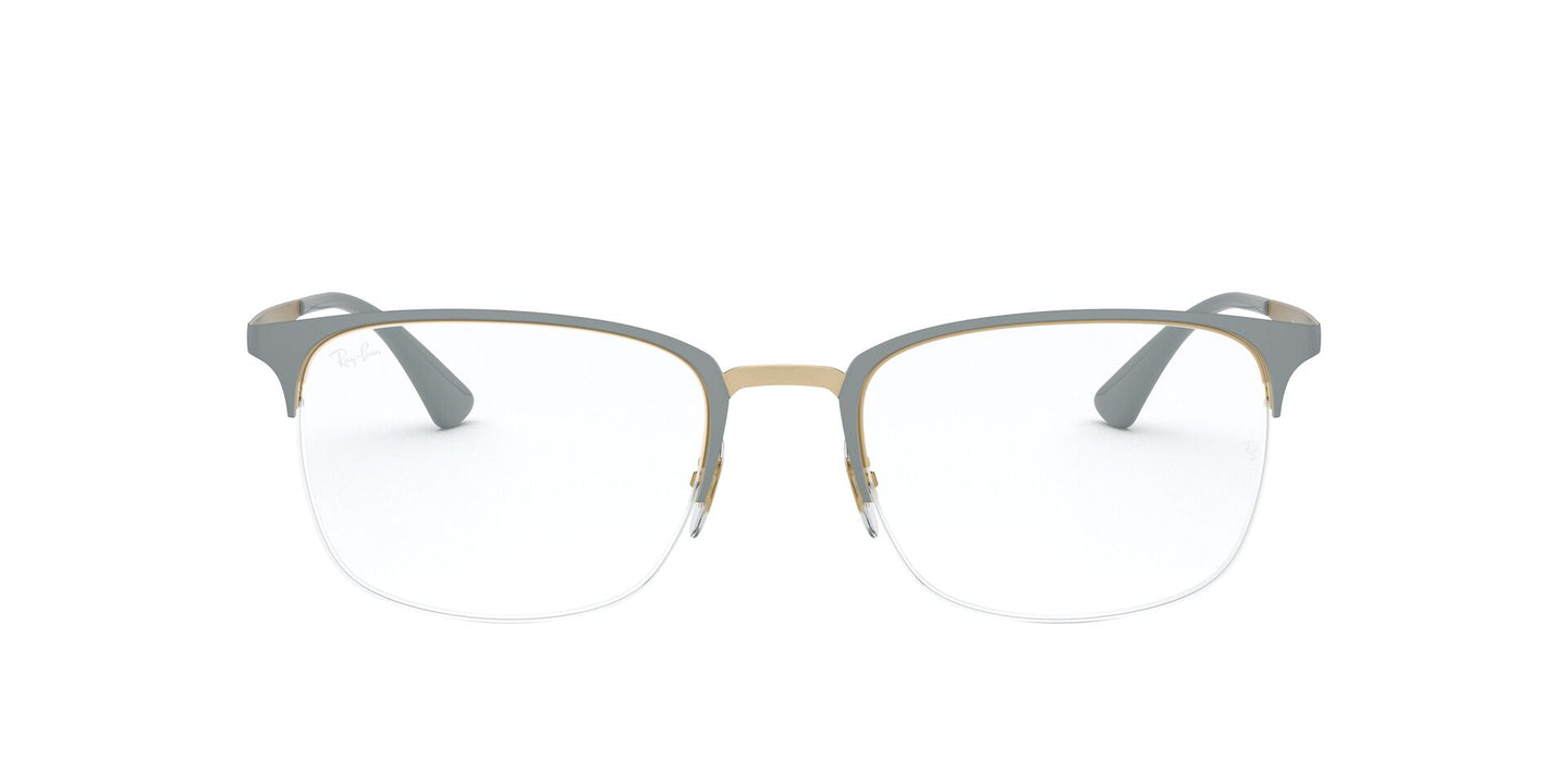 Ray Ban Rx - RX6433 Top Matte Grey On Gold Rectangle Women Eyeglasses - 53mm