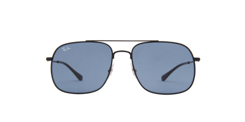 Ray Ban - Andrea Rubber Black/Dark Blue Square Unisex Sunglasses - 59mm