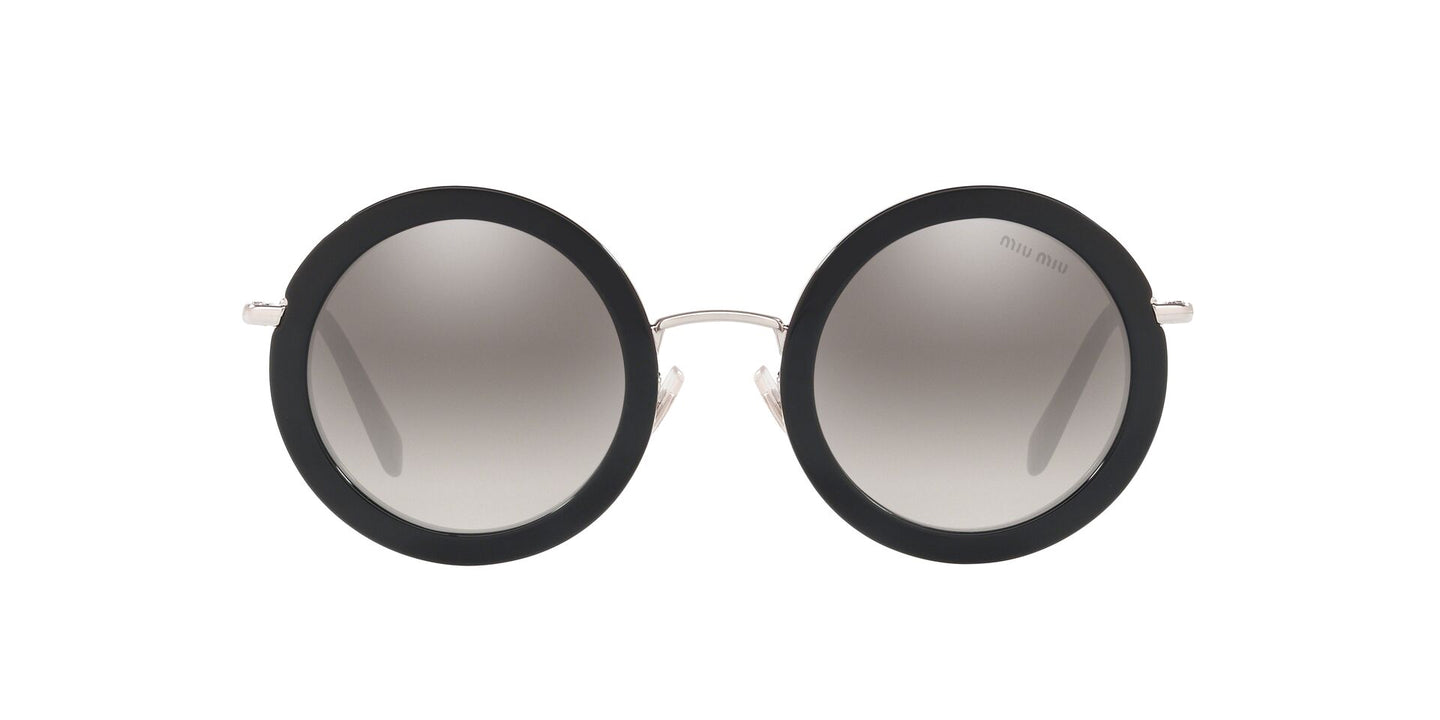 Miu Miu - MU59US Black/Grey Mirror Round Women Sunglasses - 48mm