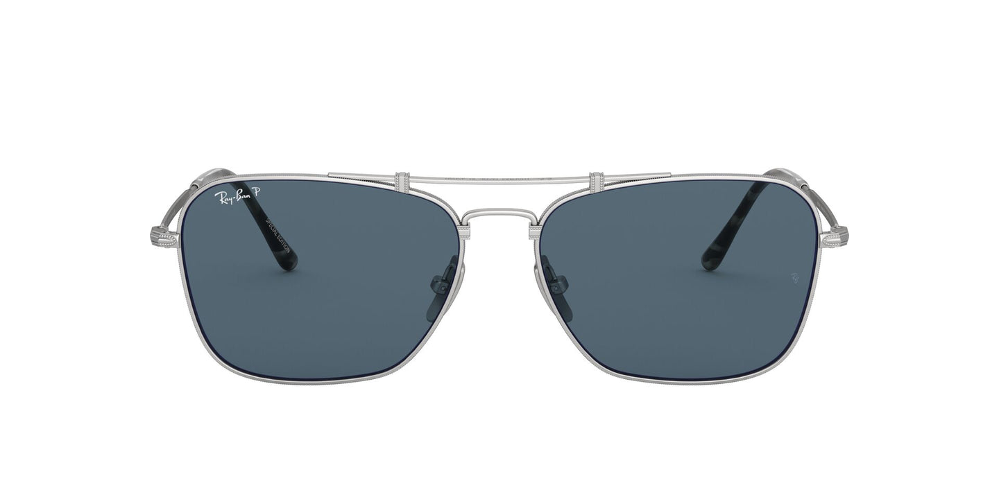 Ray Ban - RB8136M Titanium Silver Demishiny Square Unisex Sunglasses - 58mm