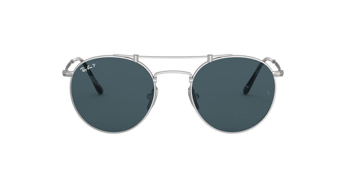 Ray Ban - RB8147M Titanium Silver Demishiny Round Unisex Sunglasses - 50mm