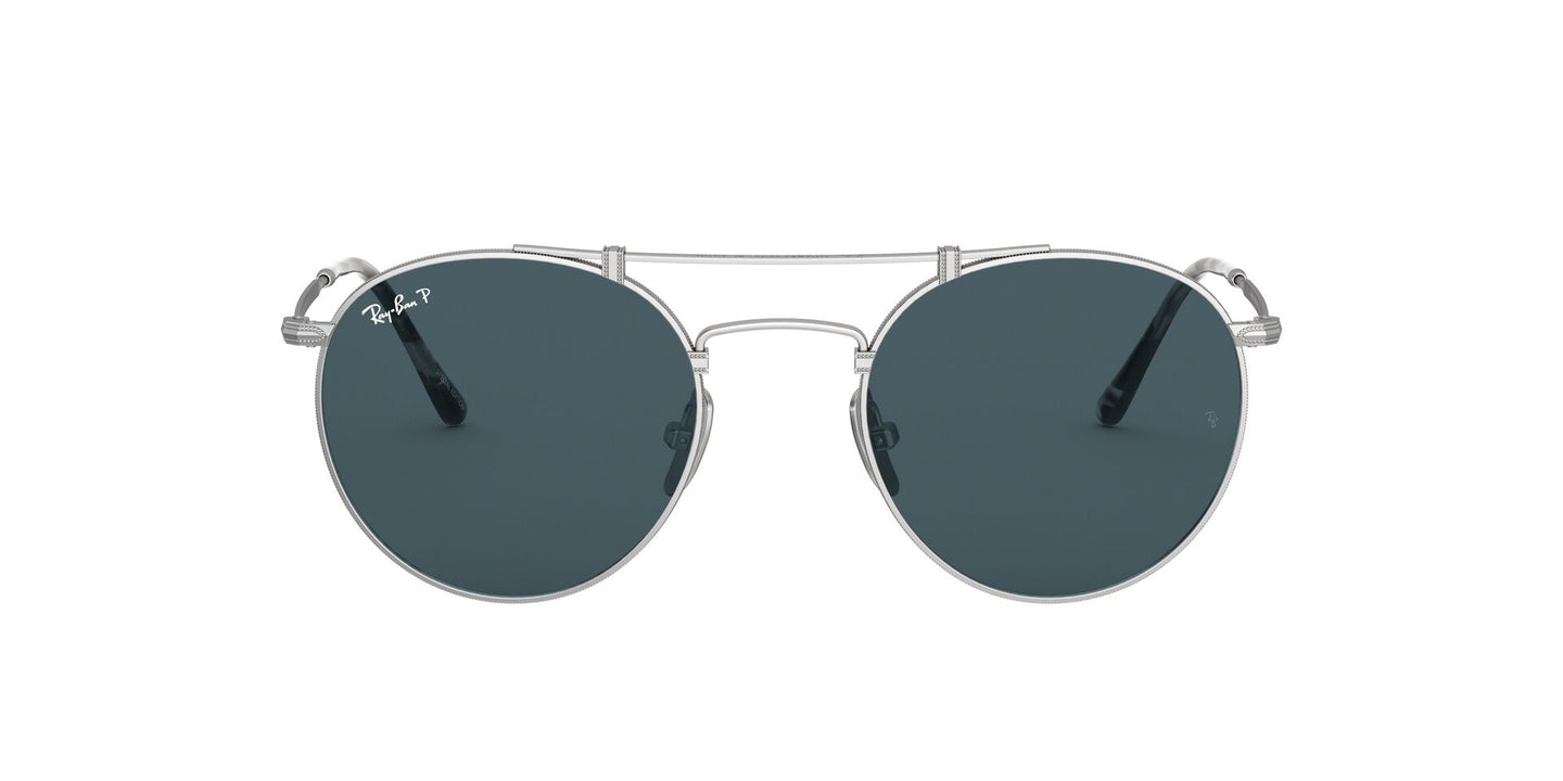 Ray Ban - Titanium Silver Demishiny/Blue Gold Ar Mirror Polarized Round Unisex Sunglasses - 50mm