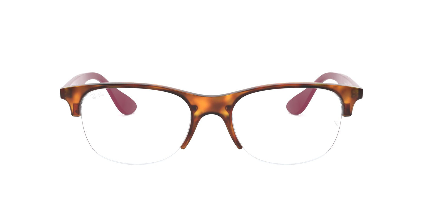 Ray Ban Rx - RX4419V Rubber Red Havana Square Unisex Eyeglasses - 54mm
