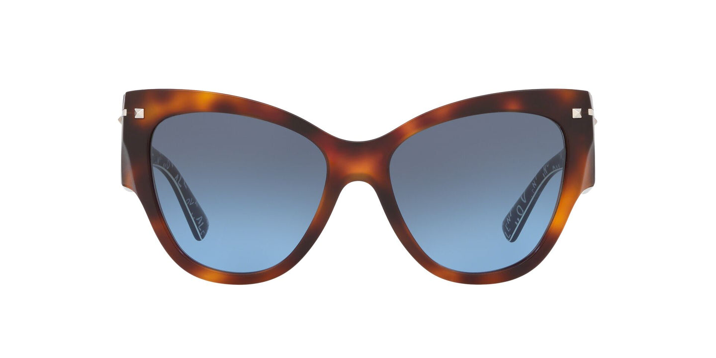 Valentino - VA4028 Havana/Blue to Grey Gradient Cat Eye Women Sunglasses - 55mm