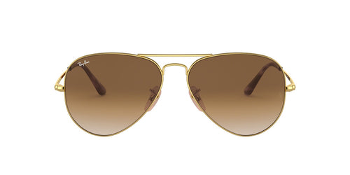 Ray Ban - RB3689 Gold Aviator Unisex Sunglasses - 55mm