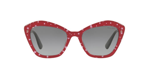 Miu Miu - MU 05US Black Top Red/White Stars Irregular Women Sunglasses - 55mm