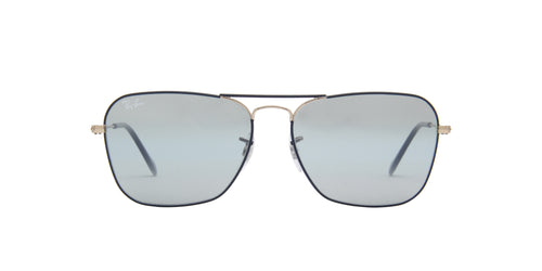 Ray Ban - Caravan Copper On Top Matte Dark Blue/Blue Bi- Grey Mirror Aviator Men Sunglasses - 58mm
