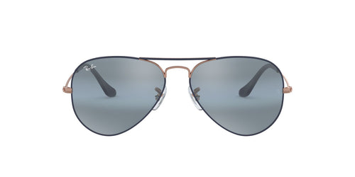 Ray Ban - Aviator Copper On Matte Dark Blue/Blue Bi- Grey Mirror Men Sunglasses - 55mm
