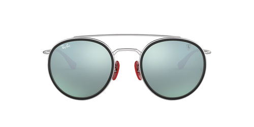 Ray Ban - Scuderia Ferrari Silver/Light Green Mirror Silver Round Men Sunglasses - 51mm