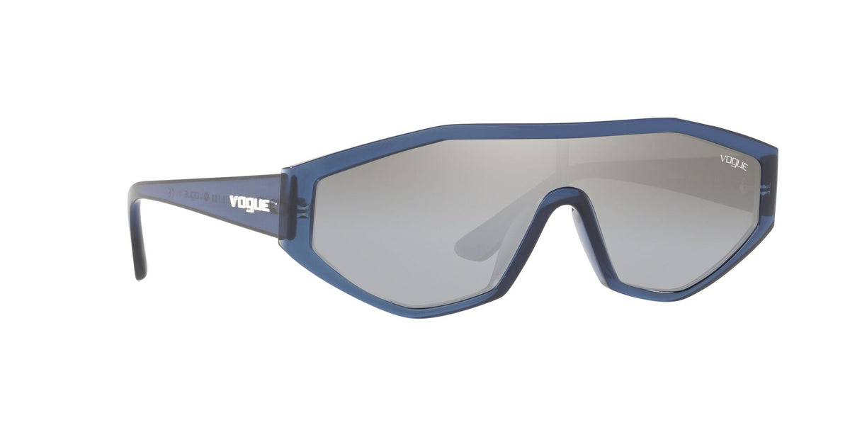 Vogue - VO5284S Transparent Blue/Light Grey Mirror Silver Shield Women Sunglasses - 32mm
