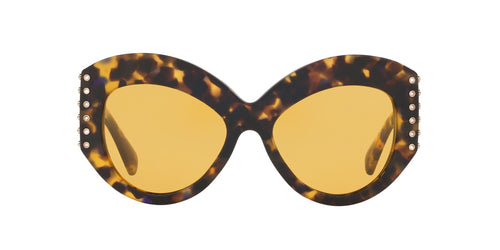 Valentino - VA4055 Brown Yellow Blue/Mustard Irregular Women Sunglasses - 55mm