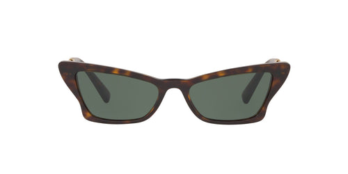 Valentino - VA4062 Havana/Green Irregular Women Sunglasses - 53mm