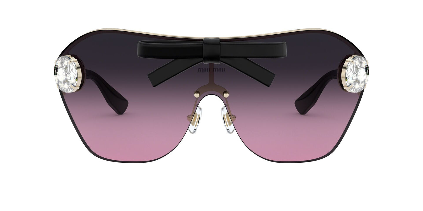 Miu Miu - MU68US Pale Gold/Grey Violet Gradient Wrap Women Sunglasses - 58mm