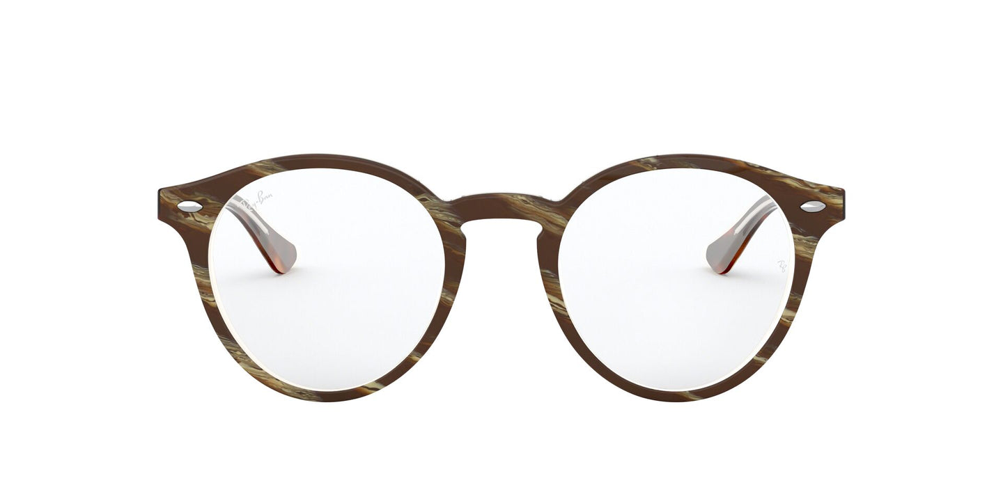 Ray Ban Rx - RX5376 Top Brown/Red/Yellow Round Unisex Eyeglasses - 49mm