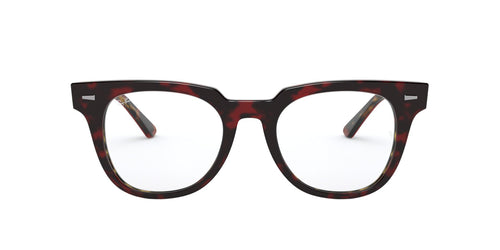 Ray Ban Rx - RX5377 Top Trasp Red On Havana Orange Square Unisex Eyeglasses - 50mm