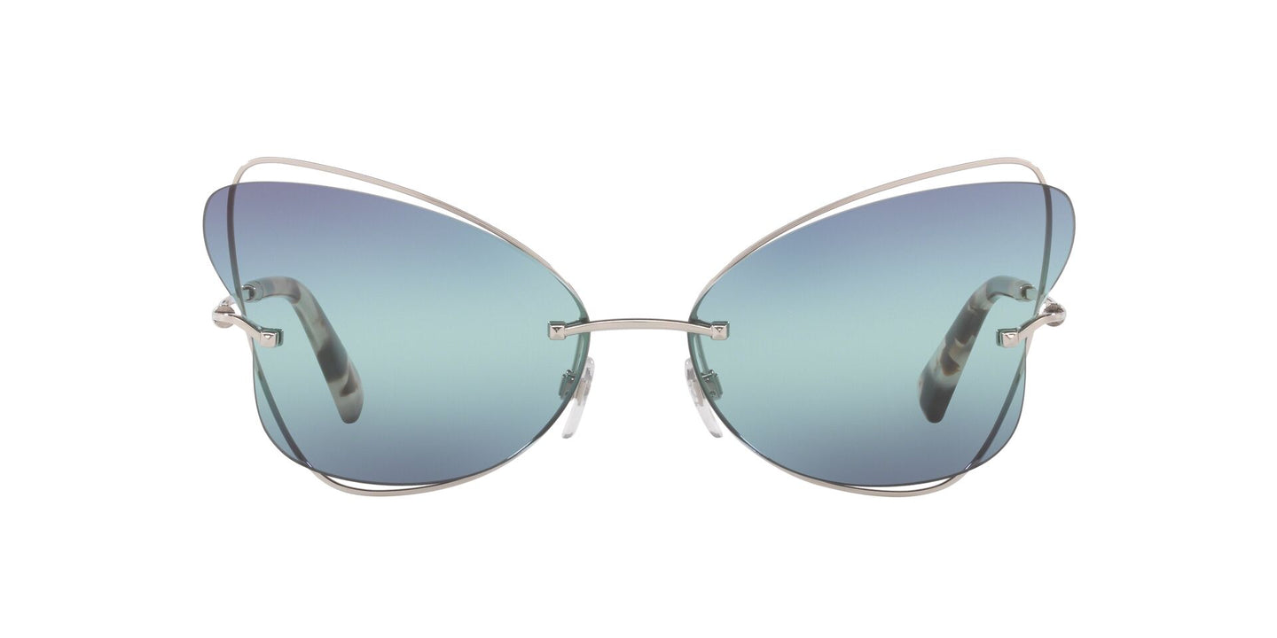 Valentino - VA2031 Silver/Blu Green Mirror Butterfly Women Sunglasses - 64mm
