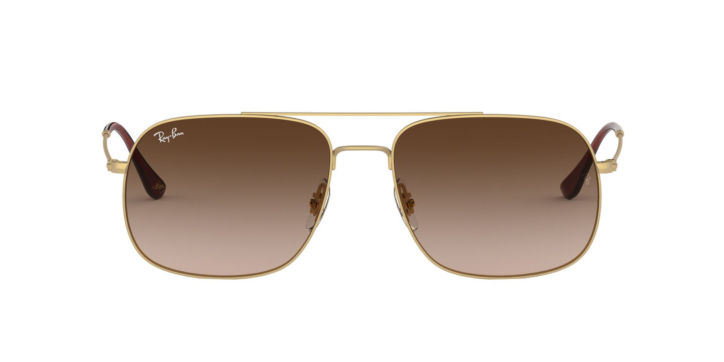 Ray Ban - Andrea Rubber Gold/Brown Gradient Aviator Unisex Sunglasses - 59mm
