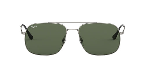 Ray Ban - RB3595 Rubber Silver/Dark Green Square Unisex Sunglasses - 59mm
