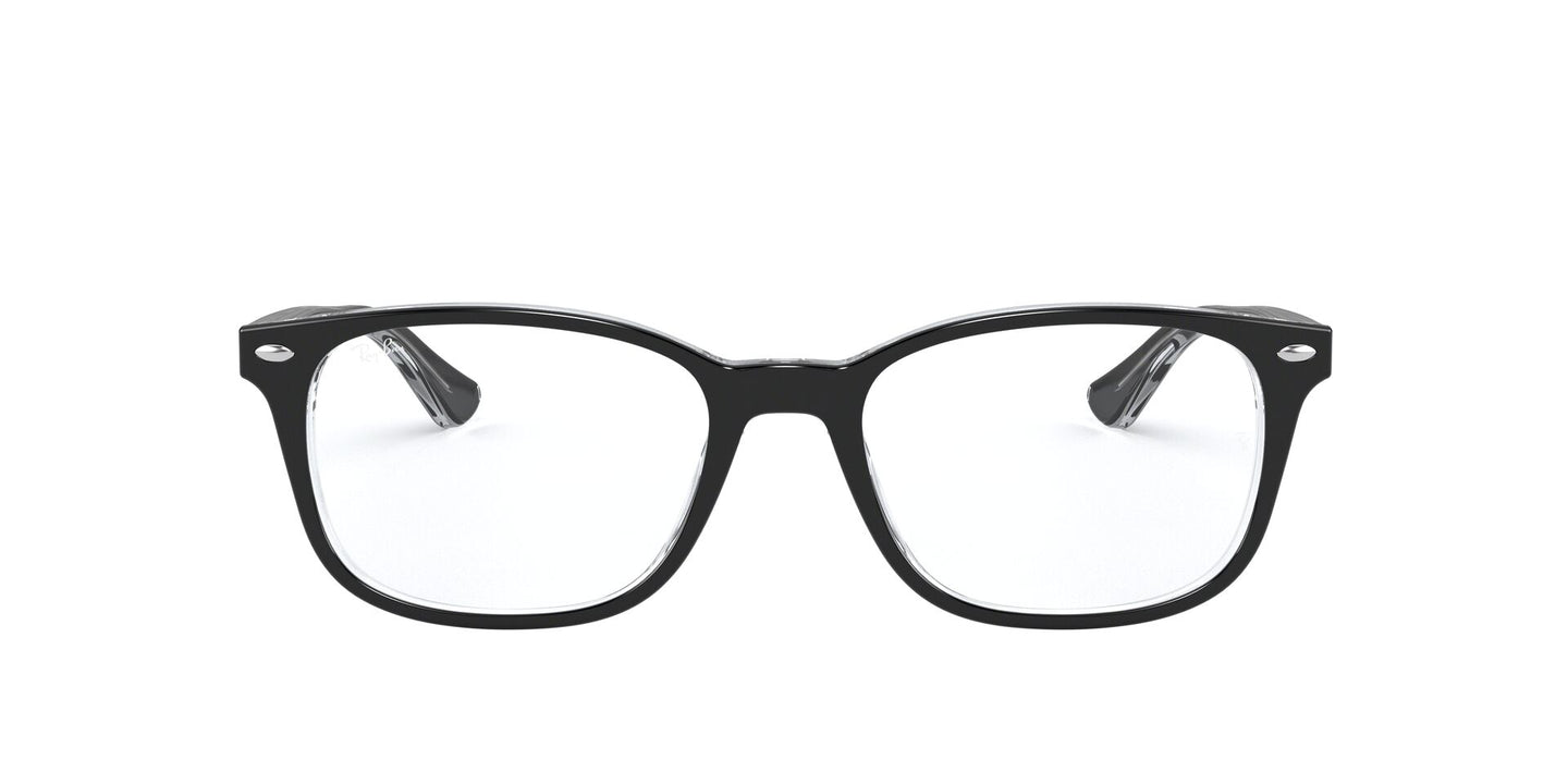 Ray Ban Rx - RX5375F Top Black On Transparent Square Unisex Eyeglasses - 53mm