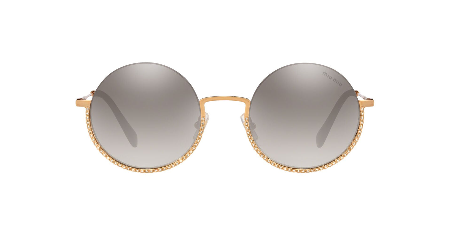 Miu Miu - MU69US Antique Gold/Grey Mirror Round Women Sunglasses - 52mm