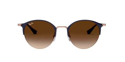 Ray Ban - RB3578 Copper On Top Dark Blue/Brown Dark Brown Gradient Round Unisex Sunglasses - 50mm