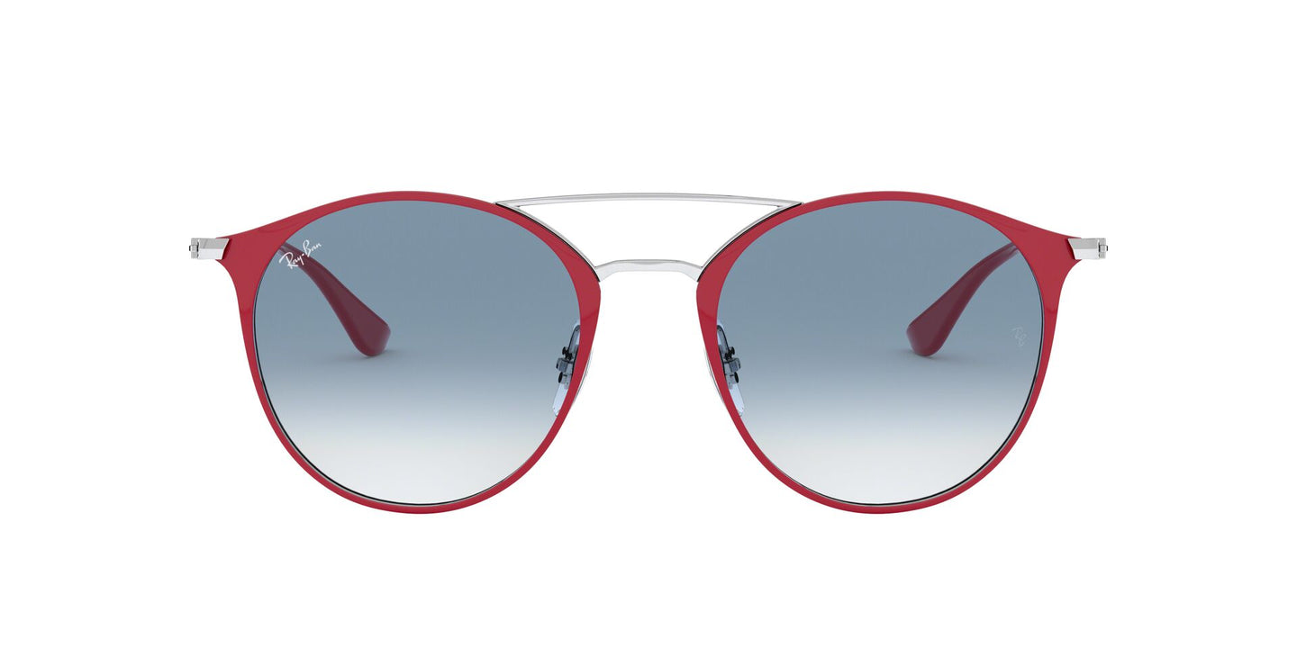 Ray Ban - RB3546 Silver On Top Bordeaux/Clear Blue Gradient Round Unisex Sunglasses - 49mm