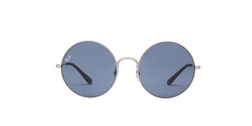 Ray Ban - Ja-Jo Rubber Silver/Dark Blue Round Women Sunglasses - 55mm
