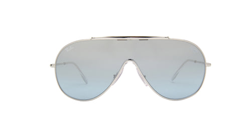 Ray Ban - Wings Silver/Light Blue Silver Mirror Wrap Men Sunglasses - 33mm