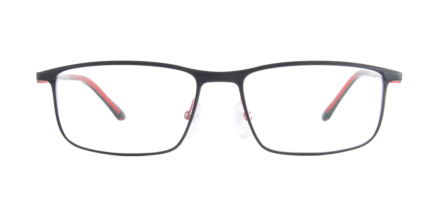 Starck - SH2047 Matt Black Red Rectangular Men Eyeglasses - 56mm