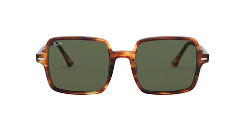 Ray Ban - Square II Stripped Havana/Green Square Women Sunglasses - 53mm
