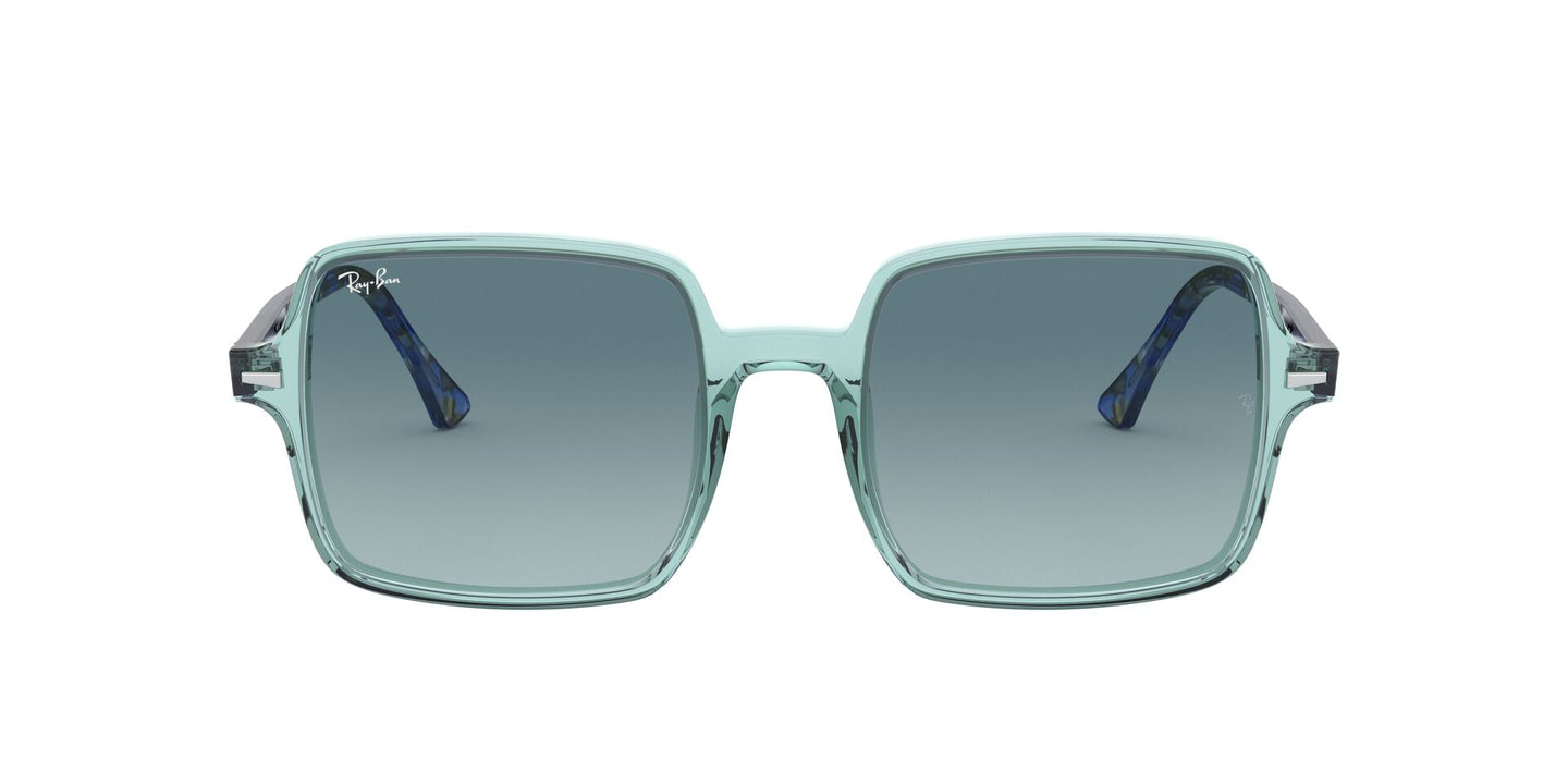 Ray Ban - RB1973 Trasparent Green/Blue  Grey Gradient Square Women Sunglasses - 53mm