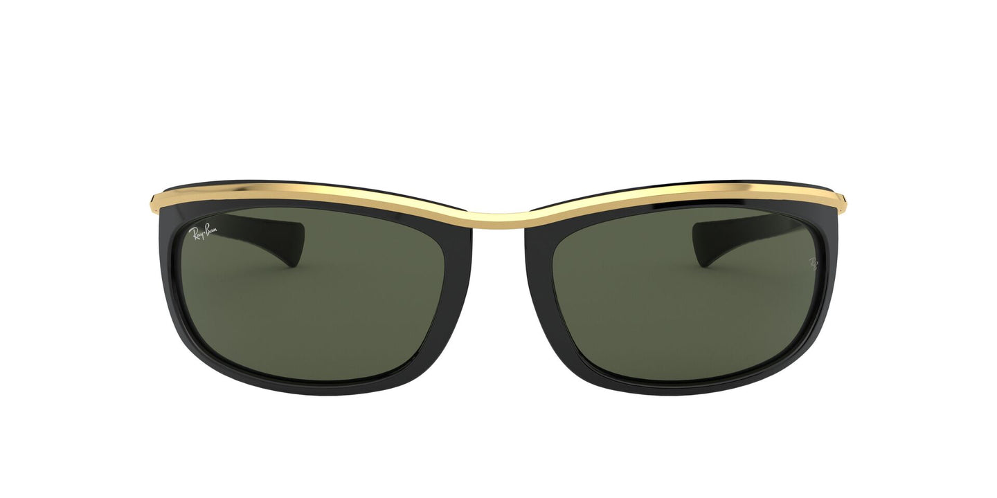 Ray Ban - Olympian I Black/Green Oval Unisex Sunglasses - 62mm