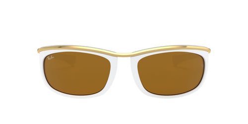 Ray Ban - Olympian I White/Brown Rectangular Unisex Sunglasses - 62mm