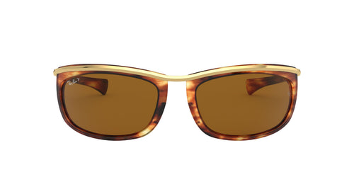 Ray Ban - Olympian I Stripped Havana/Brown Polarized Oval Unisex Sunglasses - 62mm