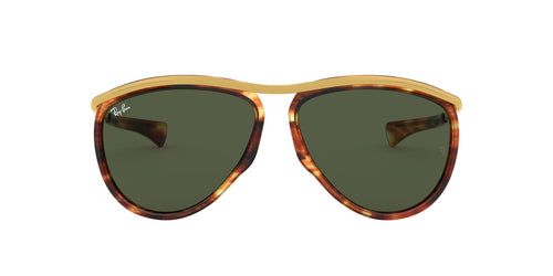 Ray Ban - Olympian Aviator Stripped Havana/Green Unisex Sunglasses - 59mm