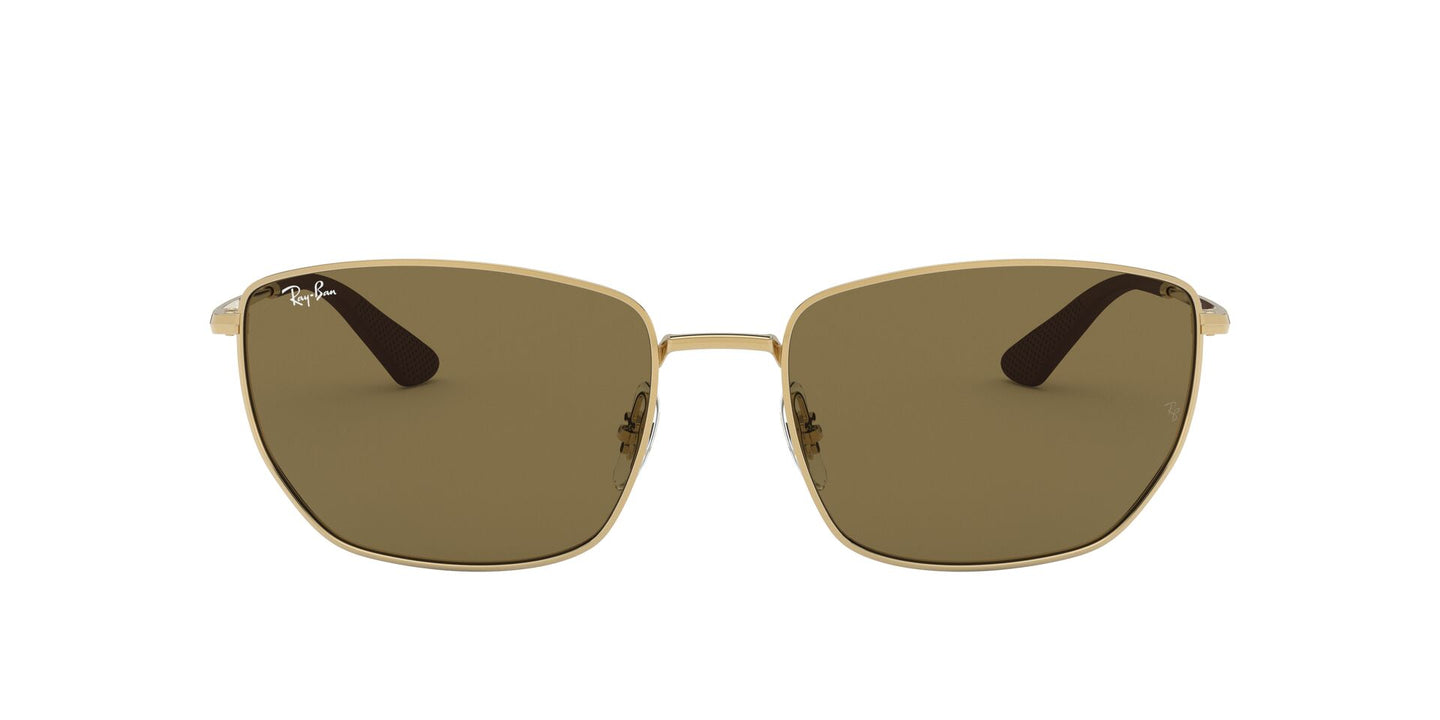 Ray Ban - RB3653 Gold/Dark Brown Square Men Sunglasses - 60mm