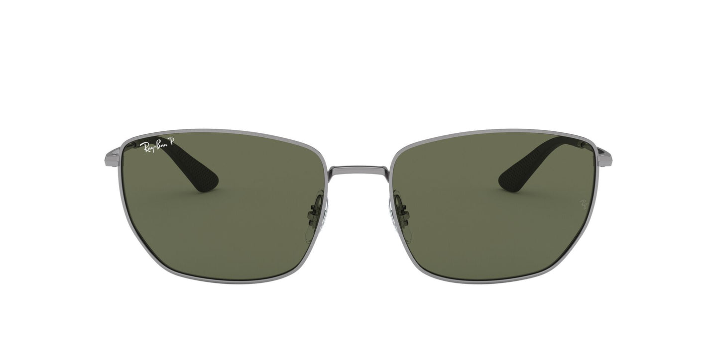 Ray Ban - RB3653 Gunmetal/Dark Green Polarized Square Men Sunglasses - 60mm