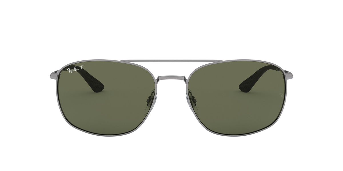 Ray Ban - RB3654 Gunmetal/Dark Green Polarized Square Men Sunglasses - 60mm