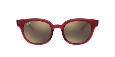 Ray Ban - RB4324 Trasparent Red/Light Brown Gold Mirror Square Unisex Sunglasses - 50mm