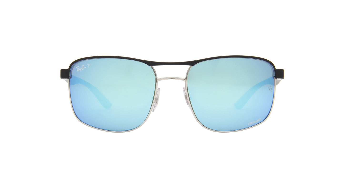 Ray Ban - RB3660CH Top Matte Black On Silver/Green/Blue Mirror Polarized Square Men Sunglasses - 58mm