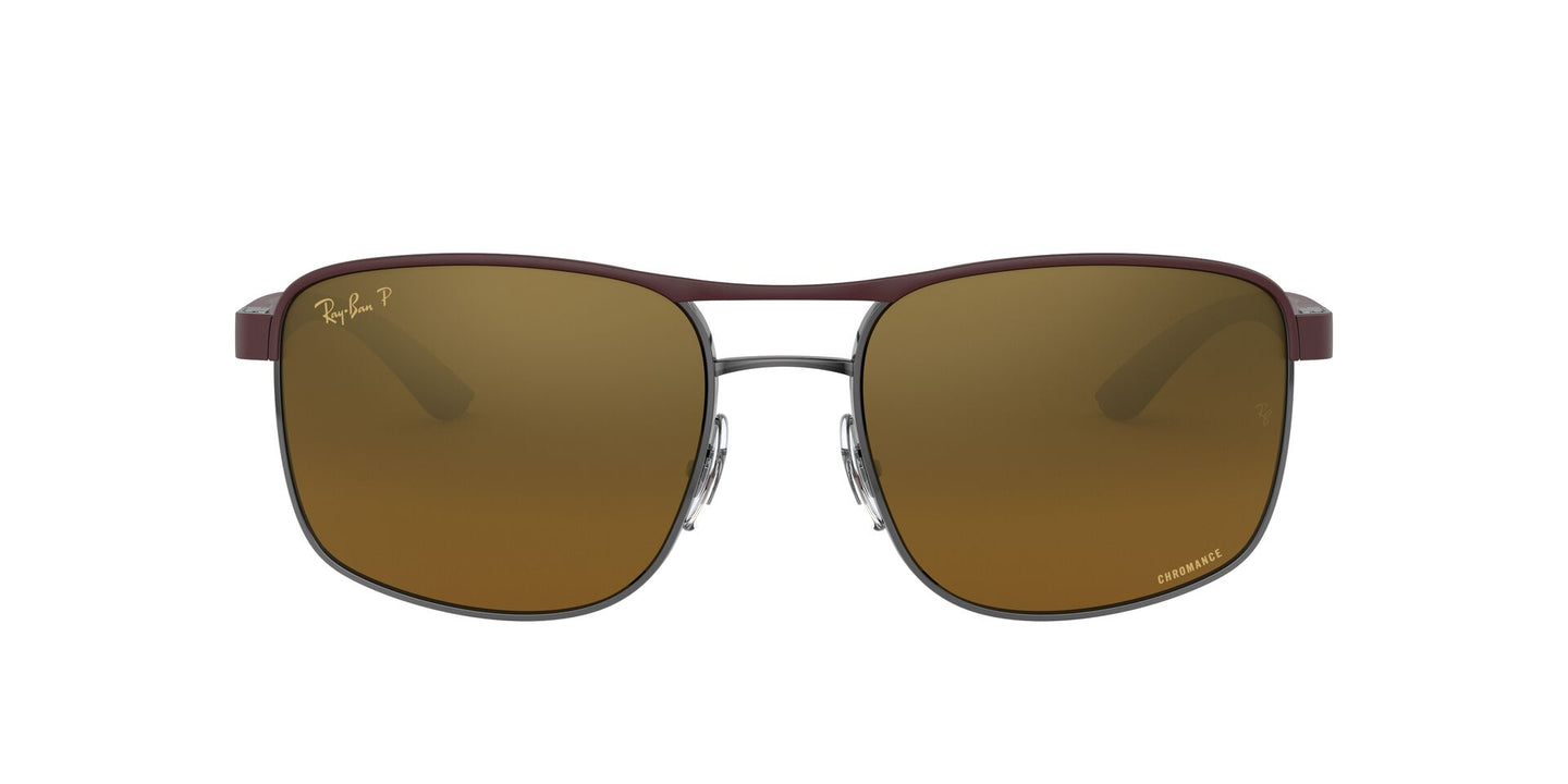 Ray Ban - RB3660CH Top Matte Violet On Gunmetal/Brown/Gold Polarized Square Men Sunglasses - 58mm