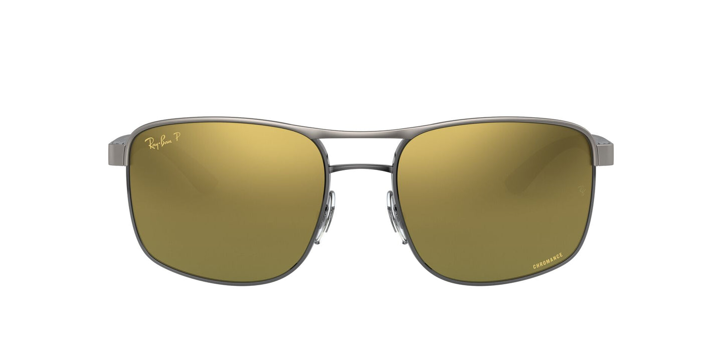 Ray Ban - RB3660CH Top Matte On Shiny Gunmetal/Green/Gold Polarized Square Men Sunglasses - 58mm