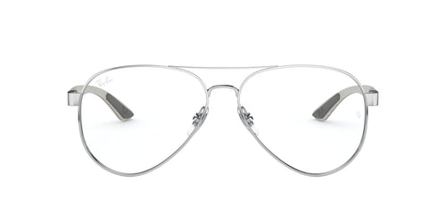 Ray Ban Rx - RX8420 Silver Square Unisex Eyeglasses - 55mm