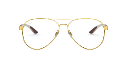 Ray Ban Rx - RX8420 Gold Square Unisex Eyeglasses - 55mm