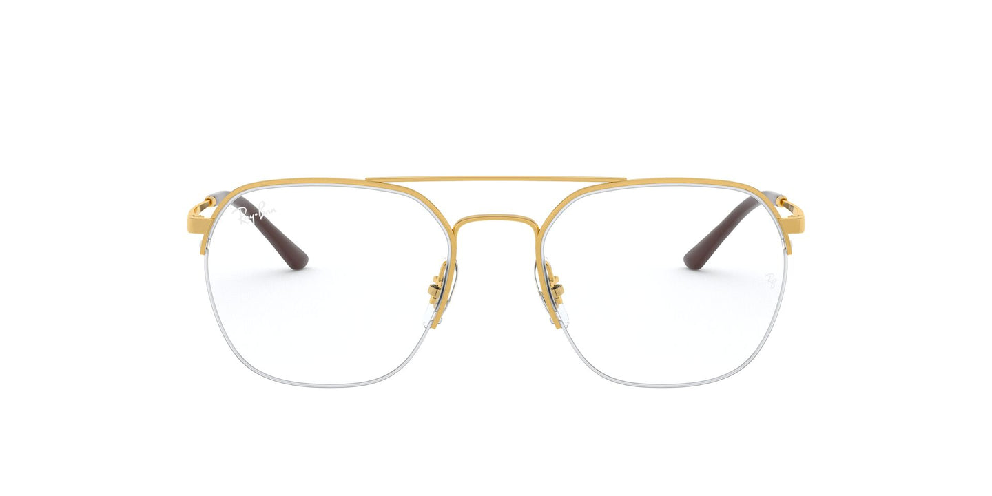 Ray Ban Rx - RX6444 Gold Square Unisex Eyeglasses - 53mm