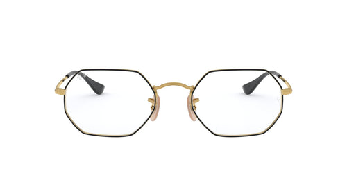 Ray Ban Rx - RX6456 Top Black On Gold Irregular Unisex Eyeglasses - 53mm