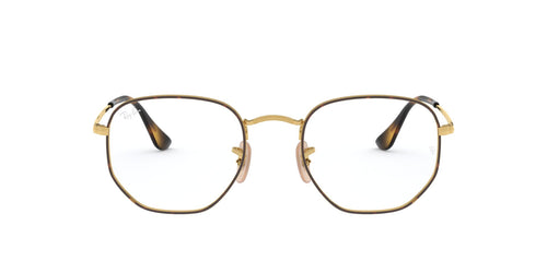 Ray Ban Rx - RX6448 Top Havana On Gold Irregular Unisex Eyeglasses - 54mm
