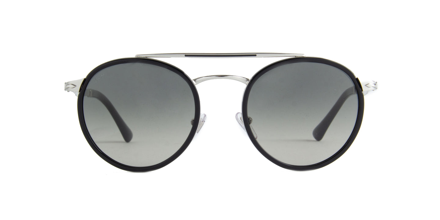 Persol - PO2467S Silver/Black Oval Men Sunglasses - 50mm