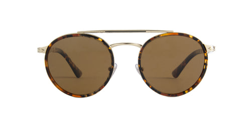 Persol - PO2467S Gold/Brown Oval Men Sunglasses - 50mm