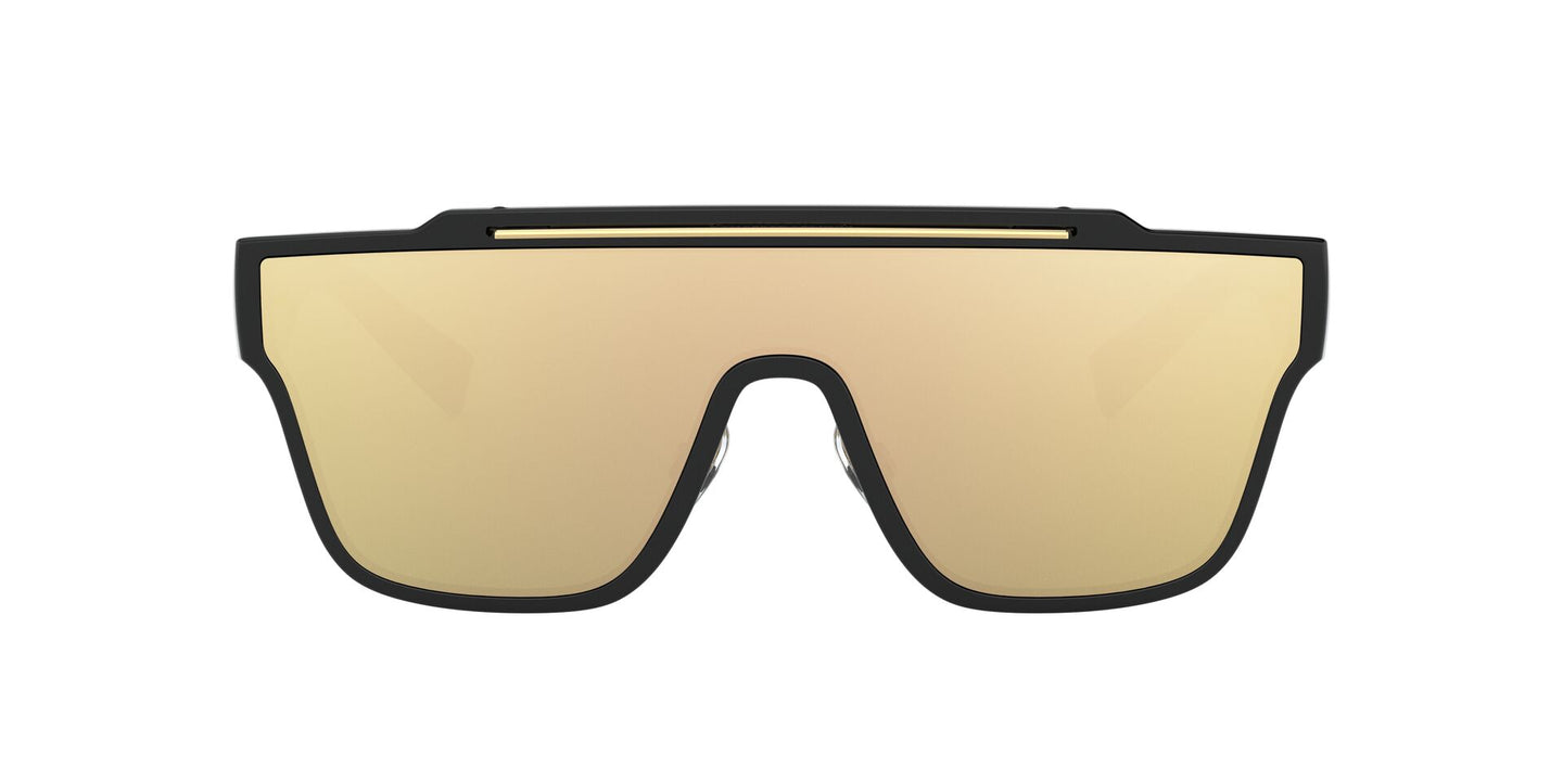 Dolce Gabbana - DG6125 Black/Clear Mirror Real Yellow Gold Square Men Sunglasses - 35mm